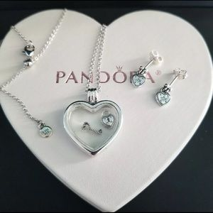 Authentic pandora Heart floating Necklace Earrings